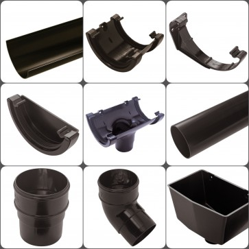 Gutter Half Round Black 112mm Downpipe Round Black 65mm