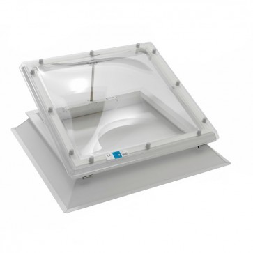 Polycarbonate Flat Roof Electric Hinged Opening Skylight Dome Window & uPVC Kerb